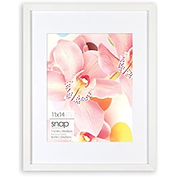 snap 11x14 white wood wall frame with 8x10 single white mat opening 09fw430 - White Frame With Mat