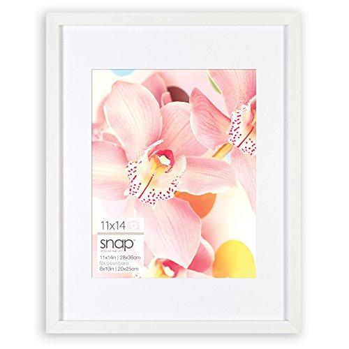 Snap 11x14 White Wood Wall Frame with Single White Mat for 8x10 Image ()
