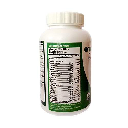 Organic Wheatgrass Tablets, 500mg, 200 Tablets