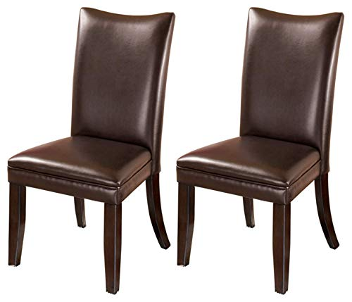 Signature Design by Ashley Charrell Dining Room Chair, Medium Brown - SET OF TWO CLASSIC DINING ROOM CHAIRS: The contemporary Parsons shape of this faux leather upholstered dining chair is a comfortable addition to any dining room HANDSOME LINES: Dining chair with a cushioned seat and back is crafted from wood and manmade wood RICH LEATHER LIKE FEEL: Easy to clean medium brown faux leather upholstery. Legs feature a faux wood finish - kitchen-dining-room-furniture, kitchen-dining-room, kitchen-dining-room-chairs - 41V10YlZibL -