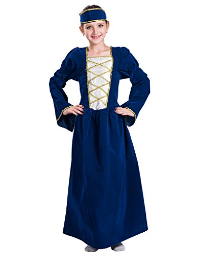 Childs Tudor Costumes (FantastCostumes Girls Tudor Fancy Dress Up Costume Medieval Princess Queen Kids Child's Outfit(Blue, Large))