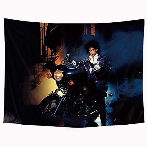 Prince Purple Rain Tapestry Motorcycle Rainy Singer Decor Wall Hanging Tapestry with Thumbtacks Ride Aladdin and The Magic Lamp Dark Night Dorm Living Room Bedding Home Decor Fabric 60x80 Inch