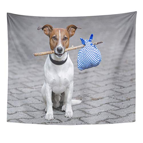 Semtomn Tapestry Pet Blue Lost Dog Stick and Brown Travel Puppy Home Decor Wall Hanging for Living Room Bedroom Dorm 50x60 Inches