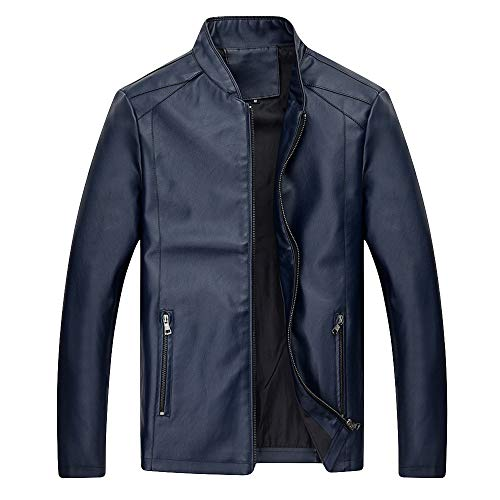 Men's Leather Jacket Performance Trucker Jacket Autumn Winter Business Outerwear Top Blouse Bomber Jacket YOcheerful(Blue,L)