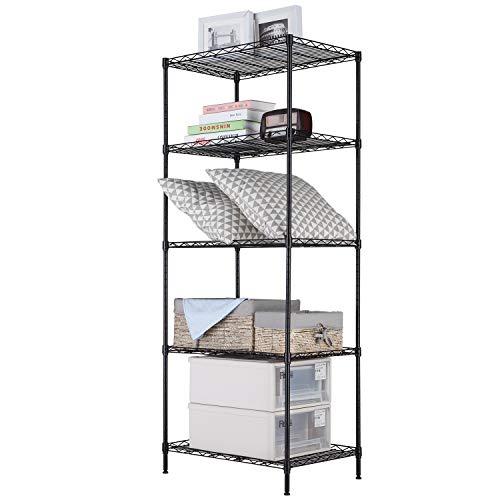 SINGAYE Storage Shelves 5 Tier Shelving Units Storage Rack Adjustable Wire Shelving Organization for Pantry Closet Kitchen Laundry, 23.6'' W x 16'' D x 59.1'' H (Black)