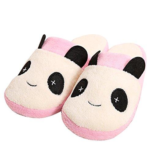 Unión Tesco algodón Zapatillas, zapatillas Interior Slipper en Panda Diseño, invierno térmica Peluche Zapatillas Negro Rosa