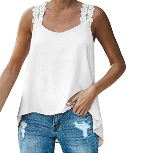 Womens Plus Size Sling Sleeveless V-Neck Lace Solid Vest Blouse Tops Shirt