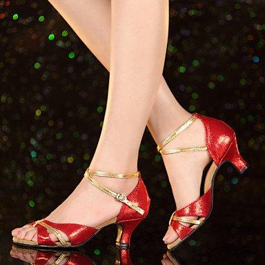 XIAMUO Nicht anpassbar - Die Frauen tanzen Schuhe Leder/Lack Leder Leder/Lackleder Latin Heels kubanischen HeelPractice/Beginner/, Schwarz, US5/EU 35/UK3/CN34