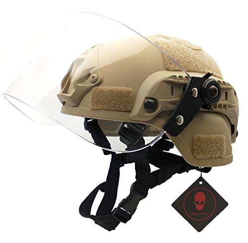Airsoft Tactical MICH 2000 Military Paintball SWAT Helmet with Clear Riot Visor Face Shield Sliding Goggles & Side Rail NVG Mount TAN