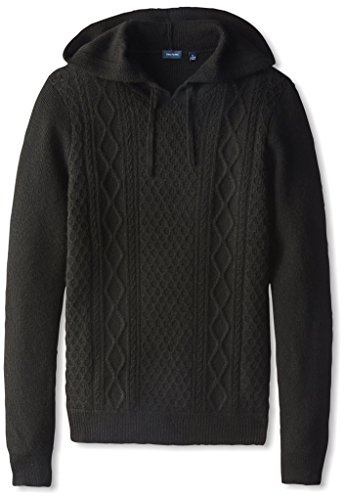 Thirty Five Kent Men's Cashmere Cable Pull Over Hoodie, Black, M