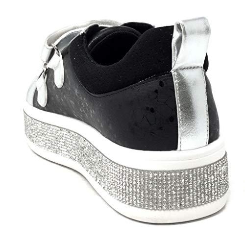 Compensé Mode Baskets Cm Chaussure Noir Angkorly 4 Street Brillant Strass Femme Bowling Plateforme Fleurs Talon Zqfn5nHPxw