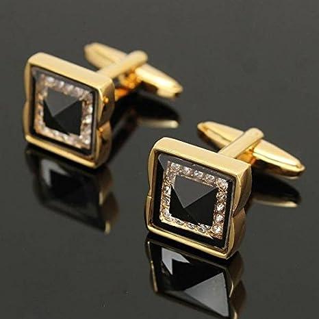 Paleo Cuadrada hombres de oro de las mancuernas de cobre camisa del partido de la boda negocio de uñas manga vintage de cristal: Amazon.es: Hogar