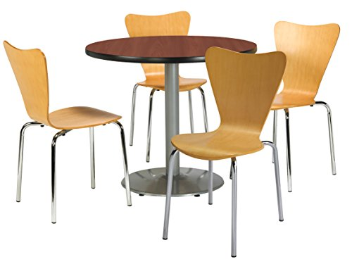 KFI Seating Round Laminate Top Pedestal Table with 4 Natural Bentwood Café Chairs, 42