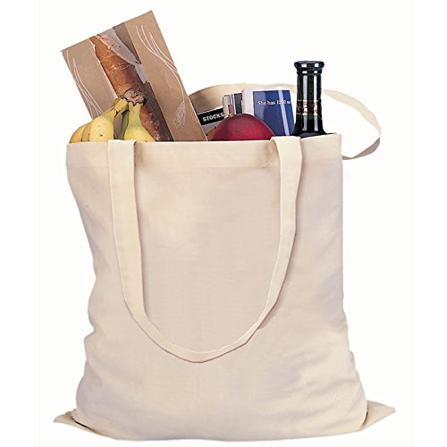 Natural Color Reusable Cotton Shopping Tote Bag (100, Natural) by ToteBagFactory (Image #2)