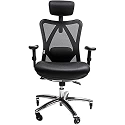 Sleekform Ergonomic Adjustable Office Desk Chair| Adjustable High Back Reclining Computer Chair |Gaming Chair with Lumbar Support & Rollerblade Wheels | Comfortable Breathable Black Mesh | Home Office