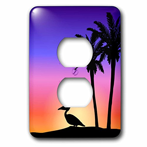 3dRose LLC lsp_76699_6 Tropical Palm Trees and Pelican Bird Silhouette At Colorful Sunset  Beach Nautical Seaside Scene  2 Plug  Outlet - Palm Silhouette