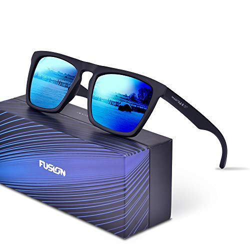 Black Lens Sunglasses - Polarized Sunglasses for Men Women, Anti-Slip Sport Sunglasses UV 400 Protection (Black Frame & Blue Lens)