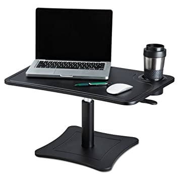 Victor DC240B High Rise Collection Adjustable Laptop Stand Platform with Storage Cup, Air Hydraulic Lever Easily Raises and Lowers The Platform, Black