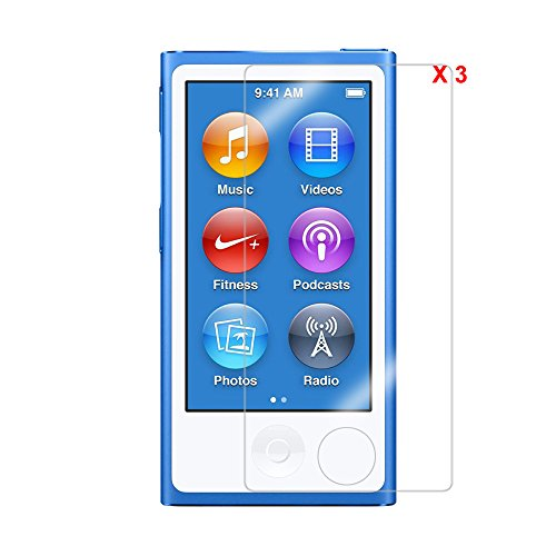 ColorYourLife 3-Pack Premium Ultra Clear Screen Protector Guard Film for iPod Nano 8th Generation with Microfiber Cloth - Retail Packaging (Nano 8th Ultra Clear)