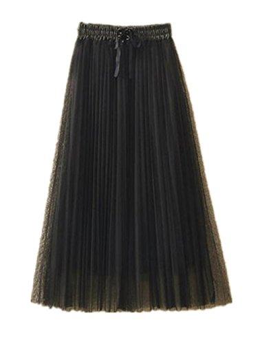 Taille Femme Jupe ElGant Jupe Haute Jupe Femelle Amincissante Skirt Mi Black1 Haililais Tendance Jupe Dentelle Longue Plisse Op4q4d