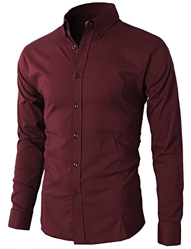 H2H Mens Designer Slim Fit Dress Shirts Wine US M+/Asia 2XL (KMTSTL0489)