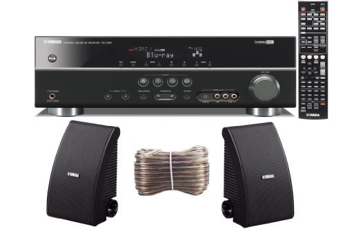 Yamaha 3D-Ready 5.1-Channel 500 Watts Digital Home Theater Audio/Video Receiver With a USB Digital Input and Connecting Cable to Play & Charge Your iPod or iPhone & Control Remotely + Set of 2 Yamaha All Weather Indoor / Outdoor 150 watt Wall Mountable Natural Sound 2-way Acoustic Suspension Speakers - Black + 100ft 16 AWG Speaker Wire
