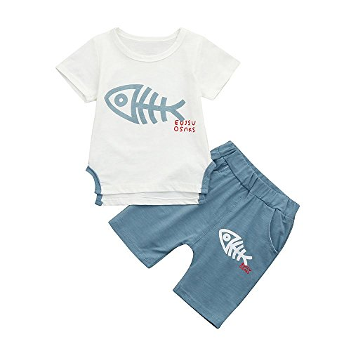 FEITONG 2Pcs Toddler Baby Boys Short Sleeve Fish Bone Print Tops T-Shirt Shorts Set Outfit ()