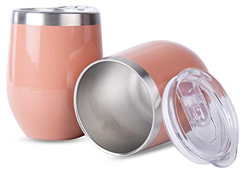 Stainless Steel Rose Gold Wine Glass Tumbler - Stemless 12 oz - Double Walled Vacuum Insulated - 2 Pack - With Lids