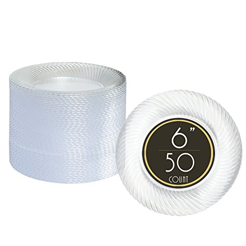 50 Premium Clear Plastic Plates for Dinner Party or Wedding - 6 Inch Fancy Disposable Plastics Plates