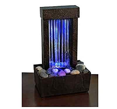 Eminentshop Fountain Mirrored Waterfall Light Show Color Changing LED Fountain Tabletop Desk
