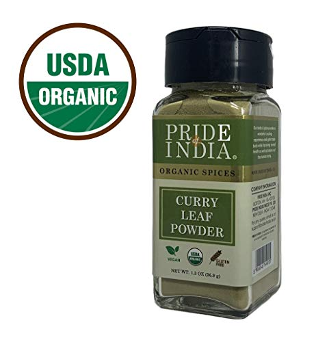 Pride Of India - Organic Curry Leaf Powder Ground - 1.3 oz (36.9 gm) Dual Sifter Jar - Used in Soups, Stews, Chutneys, Pilaf & more - BUY 1 GET 1 FREE (MIX AND MATCH - PROMO APPLIES AT CHECKOUT) (Curry Leaves And Coconut Oil For Hair Growth)
