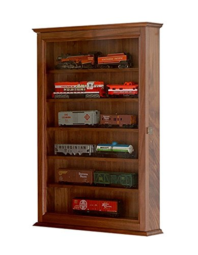 Walnut Model Train Display Case Wall Cabinet-HO Scale *Made in the USA* ()