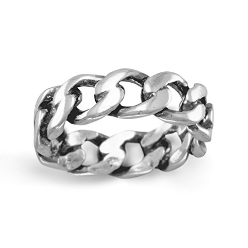 Oxidized Sterling Silver Curb Chain Ring, Sizes 6-13, 1/4 inch wide (Oxidized Silver Curb Chain)