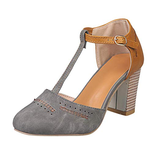 (VANDIMI Women Chunky High Heels T Strap Sandals Contrast Pumps Shoes Round Toe Buckle Square Heel PU Shoes Grey)