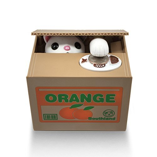 Matney® Stealing Coin Cat Box- Piggy Bank - White Kitty - English (Global Coin Set)