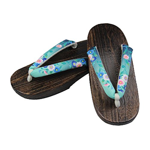 Clogs Floral Shoes Ez Traditional Green Japanese dark C Wooden sofei Women's Geta Sandals 7xxwaYq