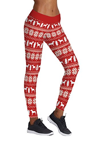 COCOLEGGINGS Womens Reindeer/Snowflake Christmas Tree Ankle Leggings (L/XL)