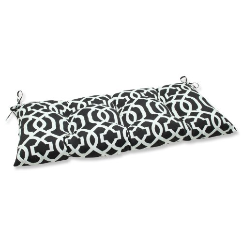 Pillow Perfect Indoor/Outdoor New Geo Black/White Swing/Bench - White And Cushion Bench Black