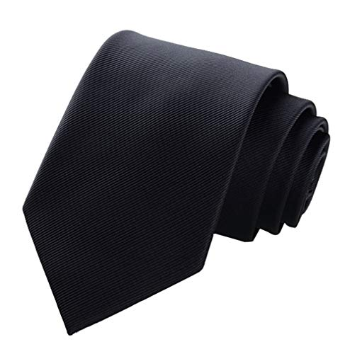Mens Solid Color Black Tie Silk 3