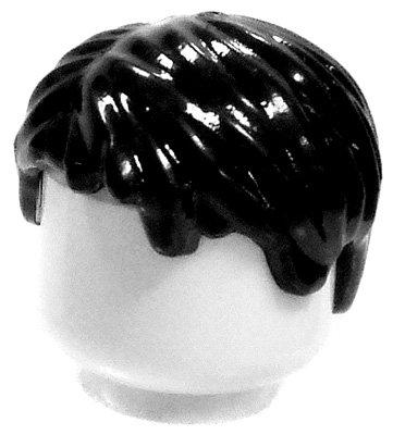 LEGO LOOSE Hair Black Short & Messy