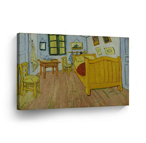 Vincent Van Gogh Bedroom in Arles, 1888 Canvas Print Decorative Art Wall Décor Artwork Wrapped Wood Stretcher Bars - Ready to Hang -%100 Handmade in The USA - 8x12 (Canvas Arles)