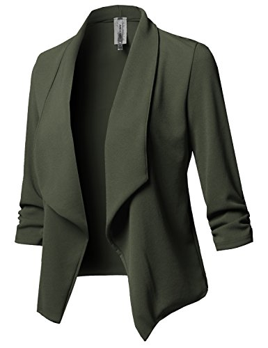 Stretch 3/4 Gathered Sleeve Open Blazer Jacket Olive L ()