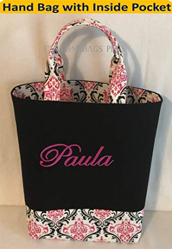 Hand Bag with Inside Pocket shown in Black Solid and Candy Pink Madison with Hot Pink Monogram