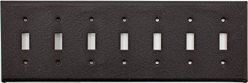 Brown Wrinkle 7 Gang Toggle Wall Plate - Seven Standard Toggle Switches