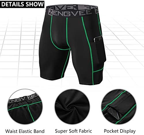 1994Fashion Mens 3 Pack Compression Shorts with Pockets Athletic Baselayer Underwear for Running,Workout,Training