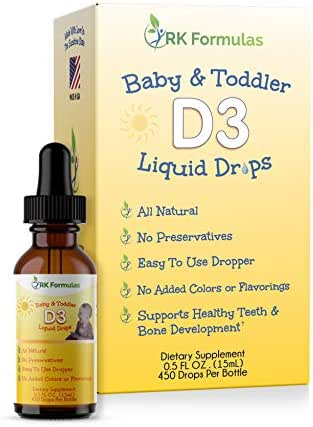 RK Formulas Baby D3 Drops for Toddlers and Kids • 400 IU • Essential for Healthy Bones and Teeth Development