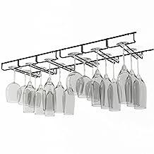Rack and Hook Stemware Glass Rack Black Wine Glass Hanger Under Cabinet Storage Bar or Kitchen Black
