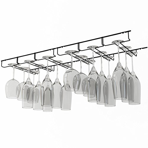 Napa Stemware Wine Glass - Wallniture Napa Stemware Wine Glass Hanger Rack Under Cabinet Kitchen Bar Storage Black 13 Inch Set of 2