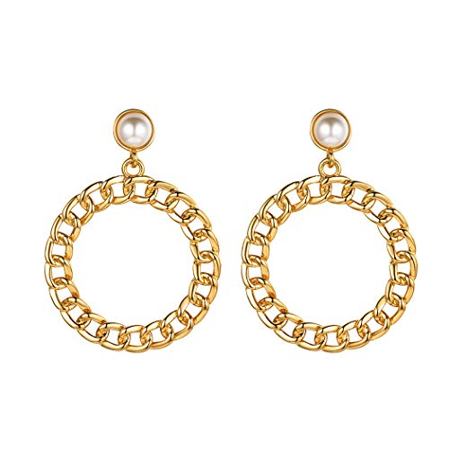 Gold Medium Cuban Link Hoop Earrings Wedding Bridal Jewelry Artificial Pearl Round Circle Stud Earrings Gifts for Women