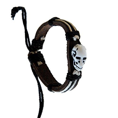 Tribal Voodoo Pirate Skull Leather Bracelet